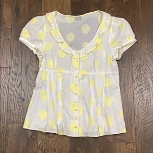 Anthro Odille white/yellow floral button down top